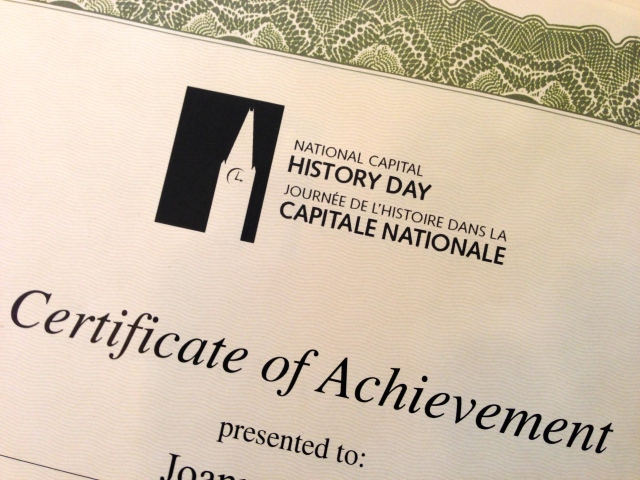 All students receive a Certificate of Achievement for entering a project in National Capital History Day.