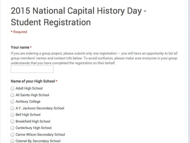 Registration for National Capital History Day 2015 is now open!