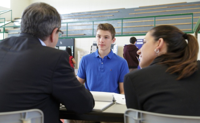 Daniel Drolet and Nicole Marion interview a student who entered the Junior French Essay category at National Capital History Day 2014. Photo by Jana Chytilova, National Capital History Day.