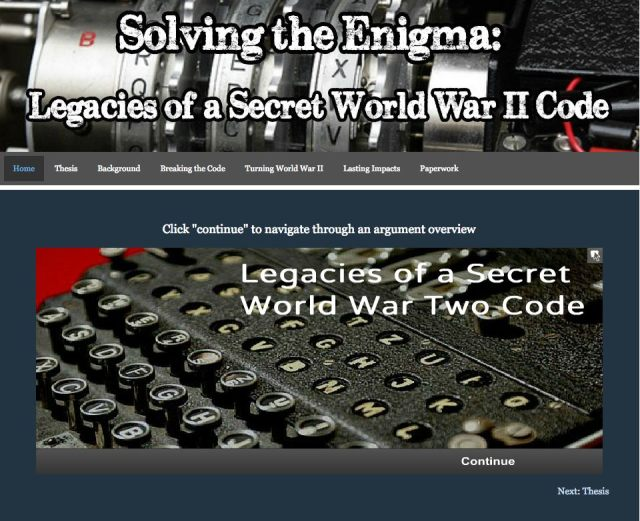 """Solving the Enigma: Legacies of a Secret World War II Code,"" received first place in the Senior Group Website category at National History Day in the U.S."