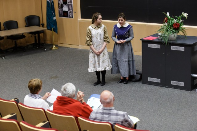 NCHD judges evaluate a project in the Drama category. Photo by Jana Chytilova, National Capital History Day.