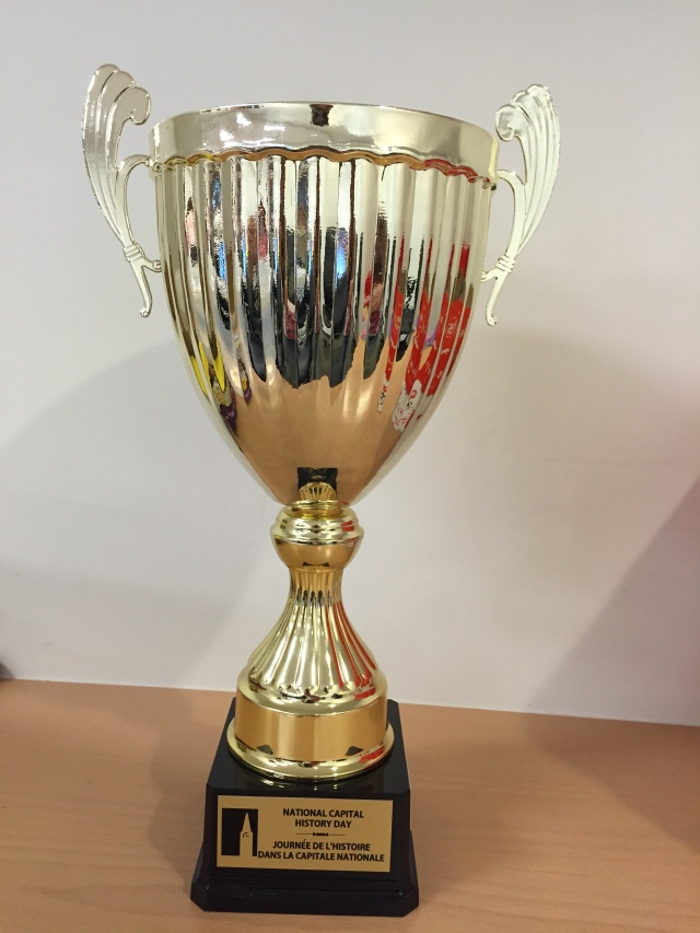 Cairine Wilson Secondary School wins the prestigious National Capital History Day trophy for Top School.